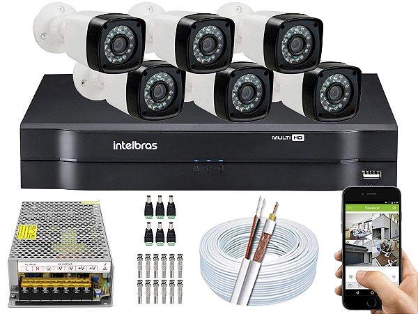 Kit CFTV 06 Câmeras EJCF-3200 e DVR de 08 Canais MHDX 1108 10A S/ HD