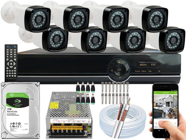 Kit CFTV 08 Câmeras EJCF-3200 e DVR de 08 Canais EJCF-9008T