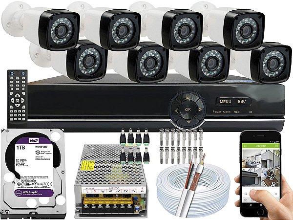 Kit CFTV 08 Câmeras EJCF-3200 e DVR de 08 Canais EJCF-9008T 1TB WD Purple