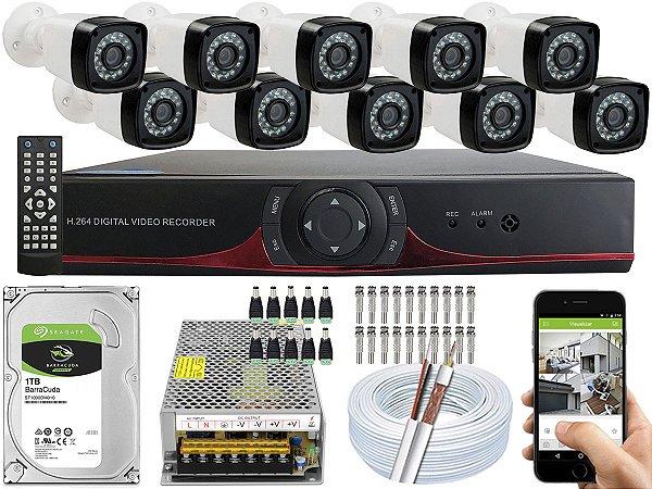 Kit CFTV 10 Câmeras EJCF-3200 e DVR de 16 Canais 9016T