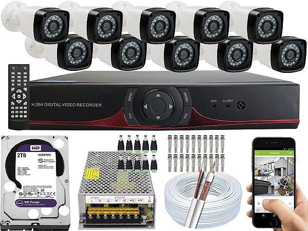 Kit CFTV 10 Câmeras EJCF-3200 e DVR de 16 Canais 9016T 2TB WD Purple