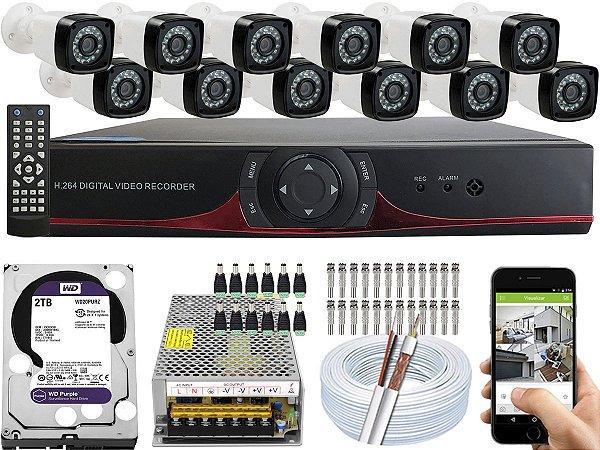 Kit CFTV 12 Câmeras EJCF-3200 e DVR de 16 Canais 9016T 2TB WD Purple