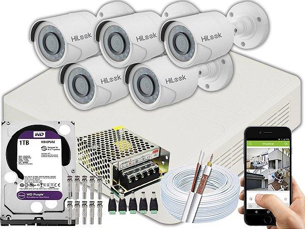 Kit CFTV Hilook 05 Câmeras THC-B110C-P e DVR de 08 Canais DVR-108G-F1 1TB WD Purple