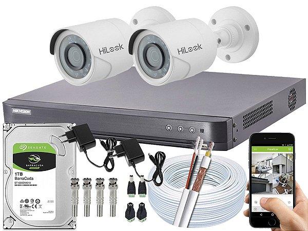 Kit CFTV Hikvision 02 Câmeras THC-B120C-P e DVR de 04 Canais DS-7204 HQHI-K1 1TB