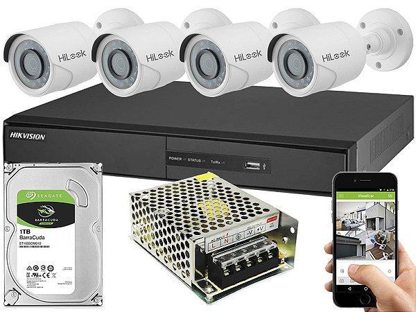 Kit CFTV Hikvision 04 Câmeras THC-B120C-P e DVR de 04 Canais DS-7204 S/ C