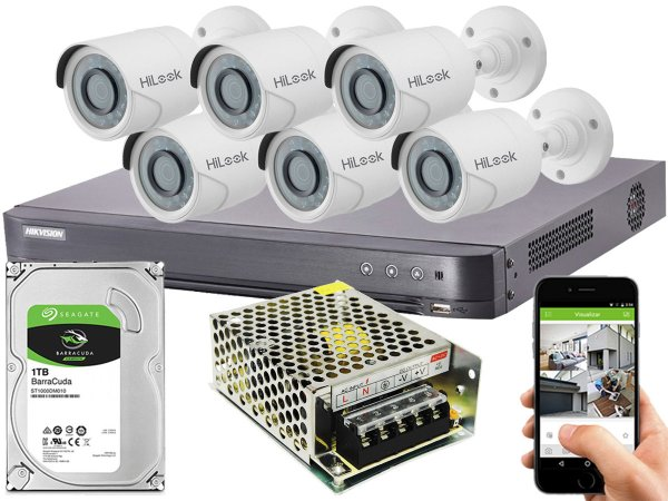 Kit CFTV Hikvision 06 Câmeras THC-B120C-P e DVR de 08 Canais DS-7208 HQHI-K1 S/ C