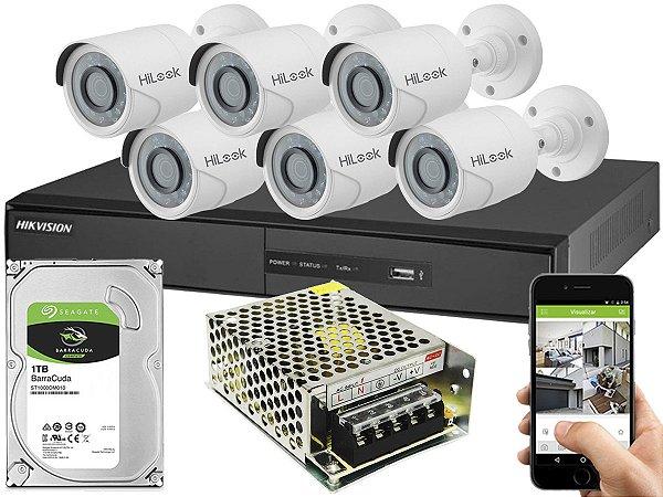 Kit CFTV Hikvision 06 Câmeras THC-B120C-P e DVR de 08 Canais DS-7208 S/ C