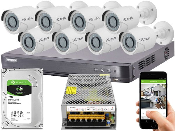 Kit CFTV Hikvision 08 Câmeras THC-B120C-P e DVR de 08 Canais DS-7208 HQHI-K1 S/ C