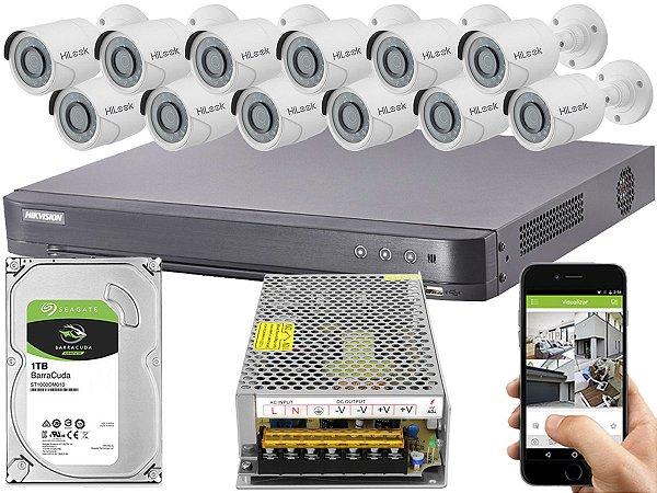 Kit CFTV Hikvision 12 Câmeras THC-B120C-P e DVR de 16 Canais DS-7216 HQHI-K1 S/ C