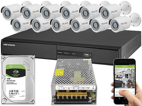 Kit CFTV Hikvision 12 Câmeras THC-B120C-P e DVR de 16 Canais DS-7216 S/ C