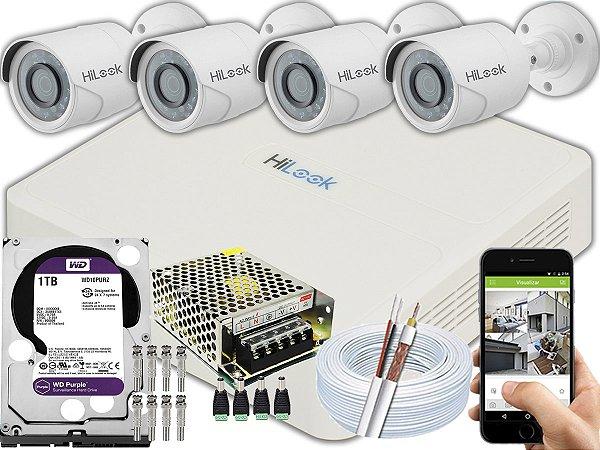 Kit CFTV Hilook 04 Câmeras THC-B120C-P e DVR de 04 Canais DVR-104G-F1 1TB WD Purple