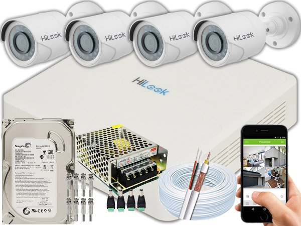 Kit CFTV Hilook 04 Câmeras THC-B120C-P e DVR de 04 Canais DVR-104G-F1 500GB