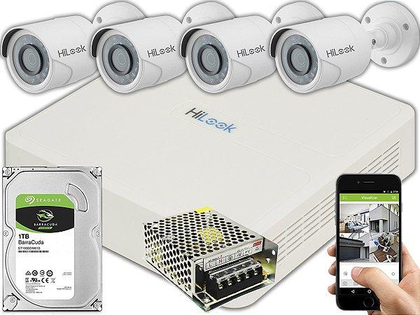 Kit CFTV Hilook 04 Câmeras THC-B120C-P e DVR de 04 Canais DVR-104G-F1 S/ C