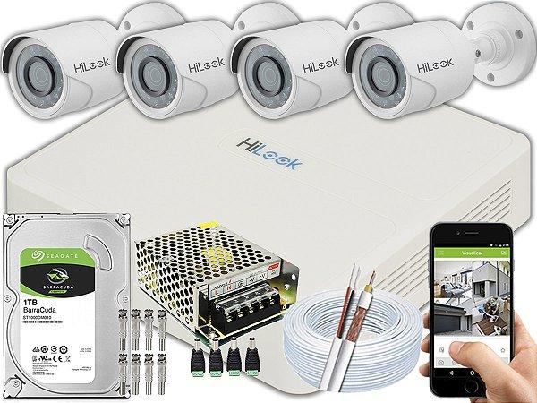 Kit CFTV Hilook 04 Câmeras THC-B120C-P e DVR de 08 Canais DVR-108G-F1