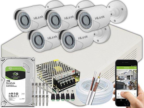 Kit CFTV Hilook 05 Câmeras THC-B120C-P e DVR de 08 Canais DVR-108G-F1
