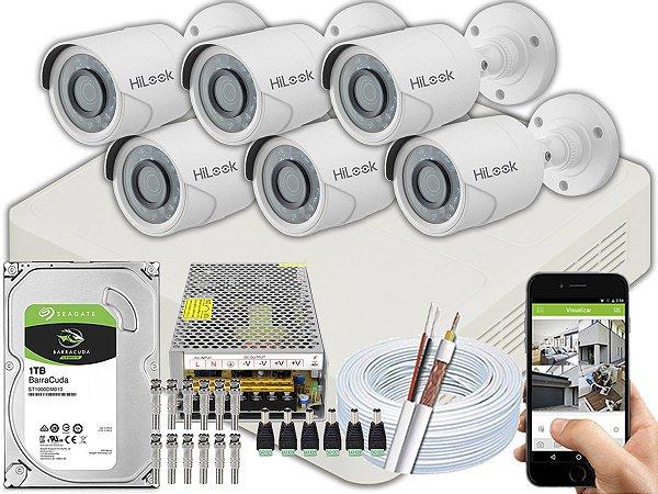 Kit CFTV Hilook 06 Câmeras THC-B120C-P e DVR de 08 Canais DVR-108G-F1 10A