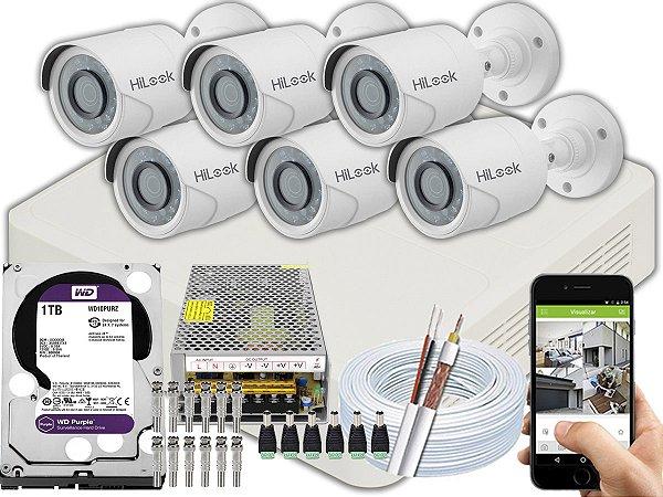 Kit CFTV Hilook 06 Câmeras THC-B120C-P e DVR de 08 Canais DVR-108G-F1 1TB WD Purple 10A