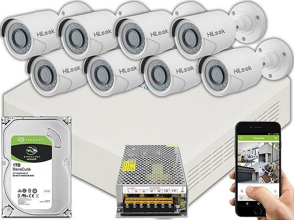 Kit CFTV Hilook 08 Câmeras THC-B120C-P e DVR de 08 Canais DVR-108G-F1 S/ C
