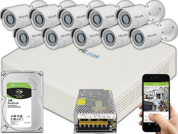 Kit CFTV Hilook 10 Câmeras THC-B120C-P e DVR de 16 Canais DVR-116G-F1 S/ C