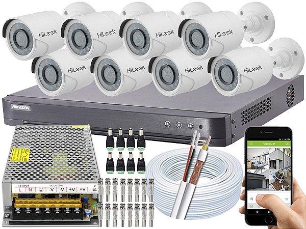 Kit CFTV Hikvision 08 Câmeras THC-B120C-P e DVR de 08 Canais DS-7208 HQHI-K1 S/ HD