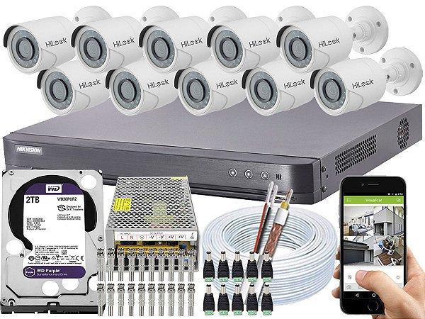 Kit CFTV Hikvision 10 Câmeras THC-B120C-P e DVR de 16 Canais DS-7216 HQHI-K1 2TB WD Purple