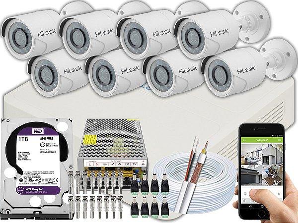 Kit CFTV Hilook 08 Câmeras THC-B120C-P e DVR de 08 Canais DVR-108G-F1 1TB WD Purple