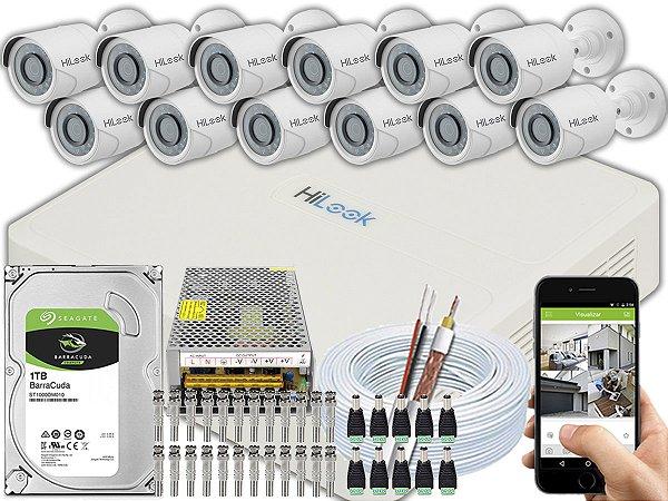 Kit CFTV Hilook 12 Câmeras THC-B120C-P e DVR de 16 Canais DVR-116G-F1