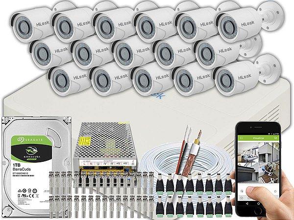 Kit CFTV Hilook 16 Câmeras THC-B120C-P e DVR de 16 Canais DVR-116G-F1