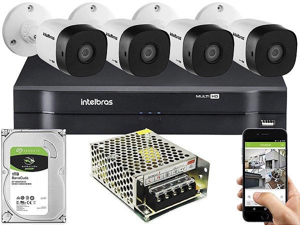 Kit CFTV Intelbras 04 Câmeras VHD 1010 B G5 e DVR de 04 Canais MHDX 1104 1TB Sem Cabo