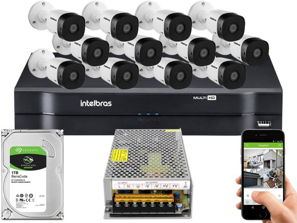 Kit CFTV Intelbras 12 Câmeras VHD 1010 B G5 e DVR de 16 Canais MHDX 1116 Sem Cabo