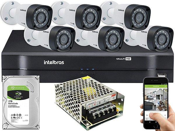 Kit CFTV Intelbras 06 Câmeras VHD 1220 B G4 e DVR de 08 Canais MHDX 1108 S/ C