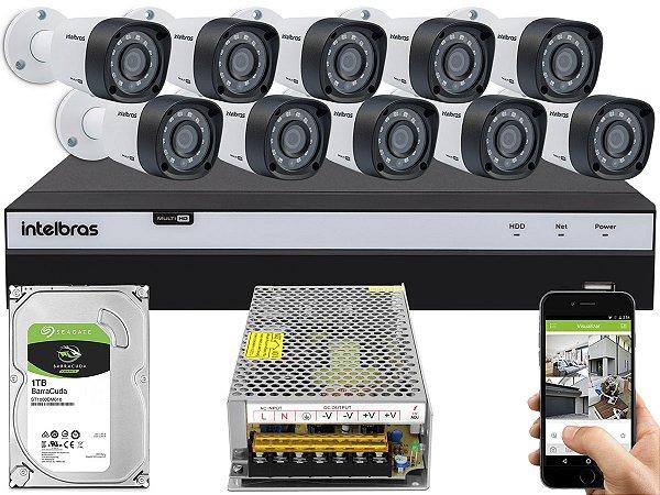 Kit CFTV Intelbras 10 Câmeras VHD 1220 B G4 e DVR de 16 Canais MHDX 3116 S/ C