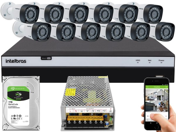 Kit CFTV Intelbras 12 Câmeras VHD 1220 B G4 e DVR de 16 Canais MHDX 3116 S/ C