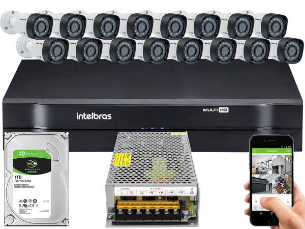 Kit CFTV Intelbras 16 Câmeras VHD 1220 B G4 e DVR de 16 Canais MHDX 1116 S/ C