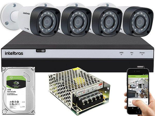 Kit CFTV Intelbras 04 Câmeras VHD 3230 B G4 e DVR de 04 Canais MHDX 3104 Sem Cabo