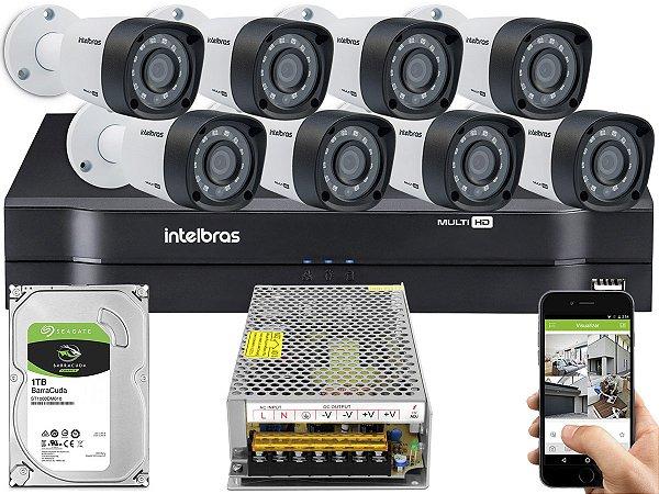 Kit CFTV Intelbras 08 Câmeras VHD 3230 B G4 e DVR de 08 Canais MHDX 1108 Sem Cabo