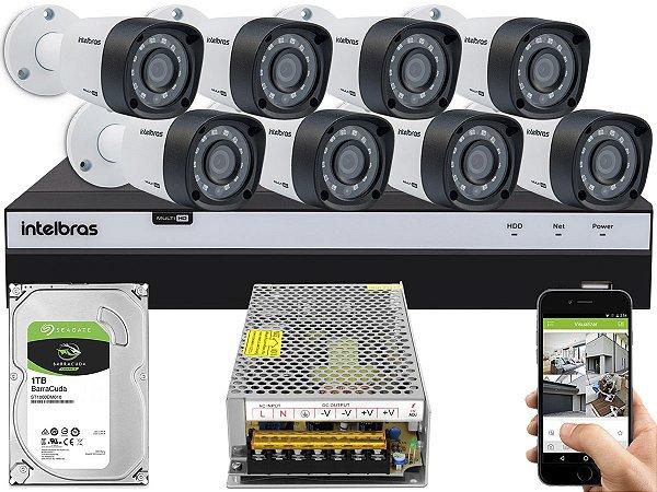 Kit CFTV Intelbras 08 Câmeras VHD 3230 B G4 e DVR de 08 Canais MHDX 3108 Sem Cabo