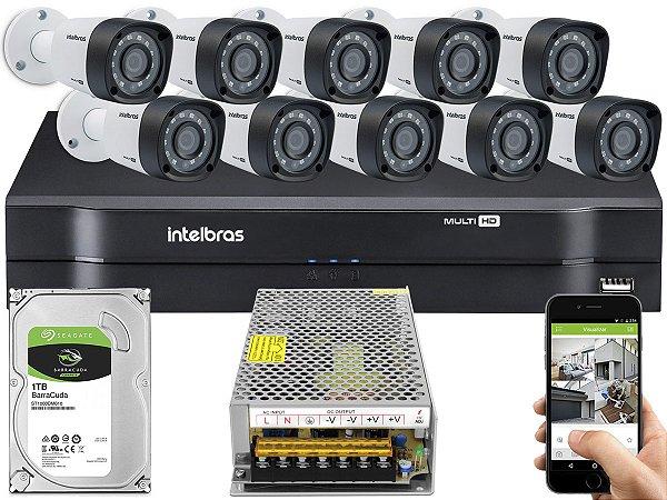 Kit CFTV Intelbras 10 Câmeras VHD 3230 B G4 e DVR de 16 Canais MHDX 1116 Sem Cabo