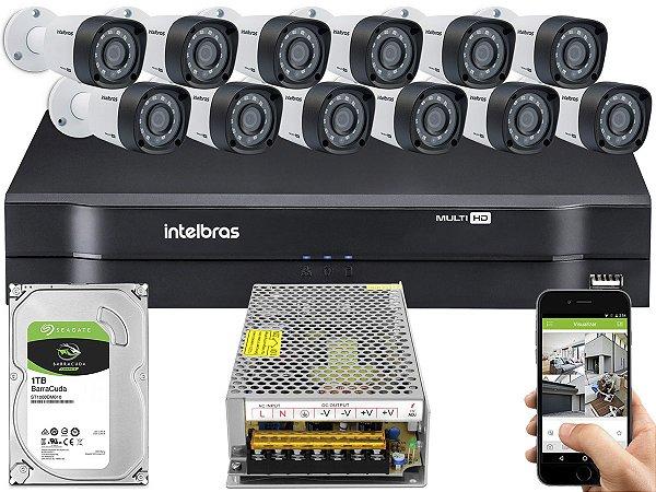 Kit CFTV Intelbras 12 Câmeras VHD 3230 B G4 e DVR de 16 Canais MHDX 1116 Sem Cabo