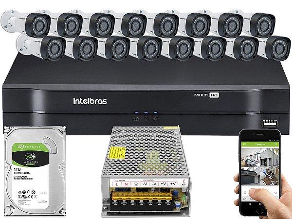 Kit CFTV Intelbras 16 Câmeras VHD 3230 B G4 e DVR de 16 Canais MHDX 1116 Sem Cabo