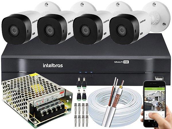 Kit CFTV Intelbras 04 Câmeras VHL 1220 B e DVR de 04 Canais MHDX 1104 S/ HD