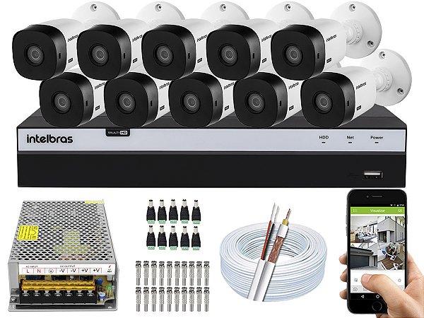 Kit CFTV Intelbras 10 Câmeras VHL 1220 B e DVR de 16 Canais MHDX 3116 S/ HD