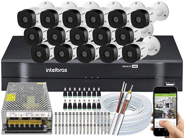 Kit CFTV Intelbras 16 Câmeras VHL 1220 B e DVR de 16 Canais MHDX 1116 S/ HD