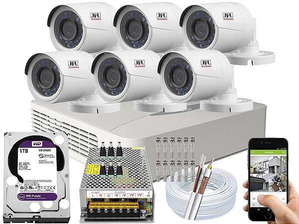 Kit CFTV JFL 06 Câmeras CHD-2230P e DVR de 08 Canais DHD-3308 1TB WD Purple 10A