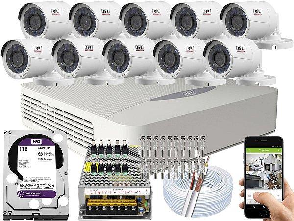 Kit CFTV JFL 10 Câmeras CHD-2230P e DVR de 16 Canais DHD-3316 1TB WD Purple