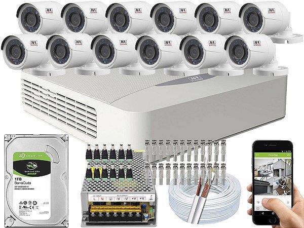 Kit CFTV JFL 12 Câmeras CHD-2230P e DVR de 16 Canais DHD-3316