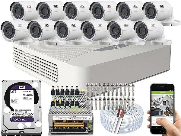 Kit CFTV JFL 12 Câmeras CHD-2230P e DVR de 16 Canais DHD-3316 2TB WD Purple