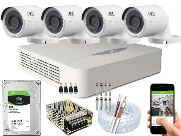 Kit CFTV JFL 04 Câmeras CHD-2230P e DVR de 04 Canais DHD-3304 1TB