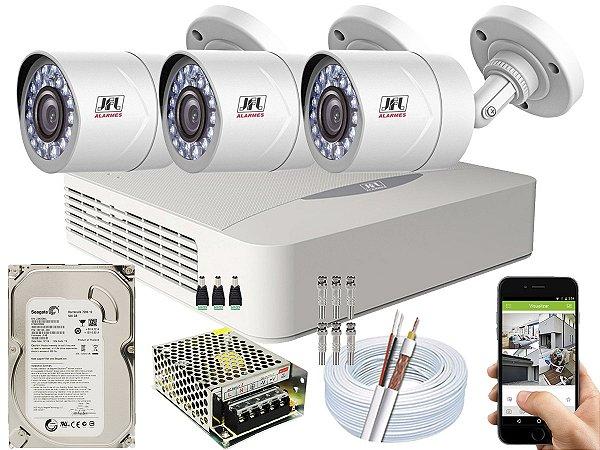 Kit CFTV JFL 03 Câmeras CHD-2110P e DVR de 04 Canais DHD-3304 500GB