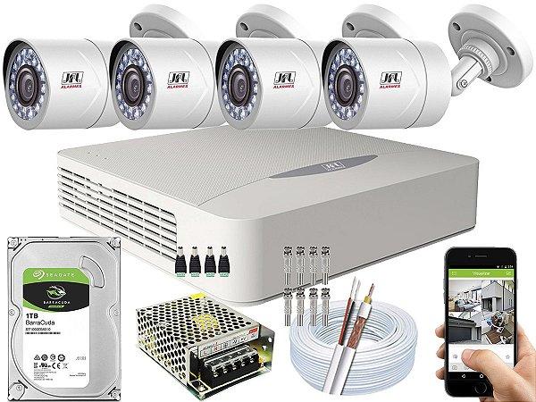 Kit CFTV JFL 04 Câmeras CHD-2110P e DVR de 04 Canais DHD-3304 1TB